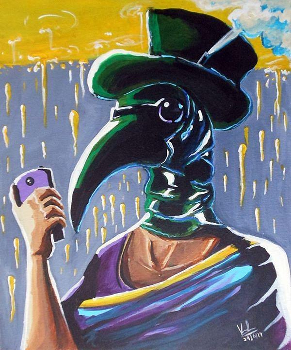 Plague Painting - The Plague Doctor by Vinod Rajagopalan