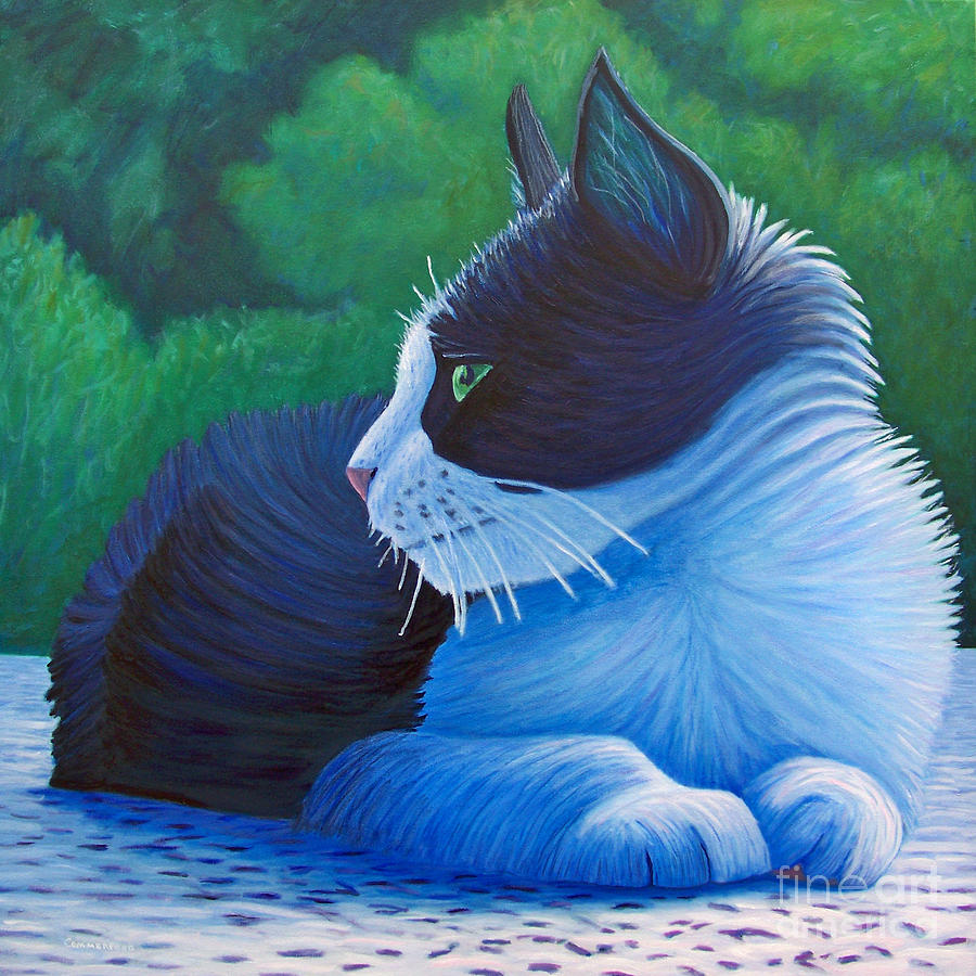 Cat Painting - The Pleasure Of Her Company by Brian  Commerford