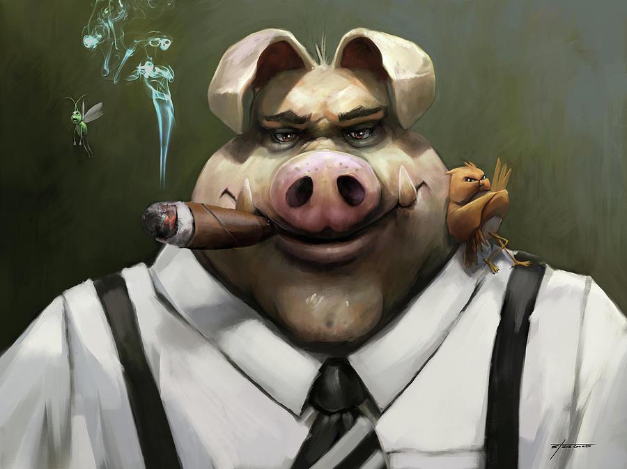 Pig Digital Art - The Poker Face by Steve Goad