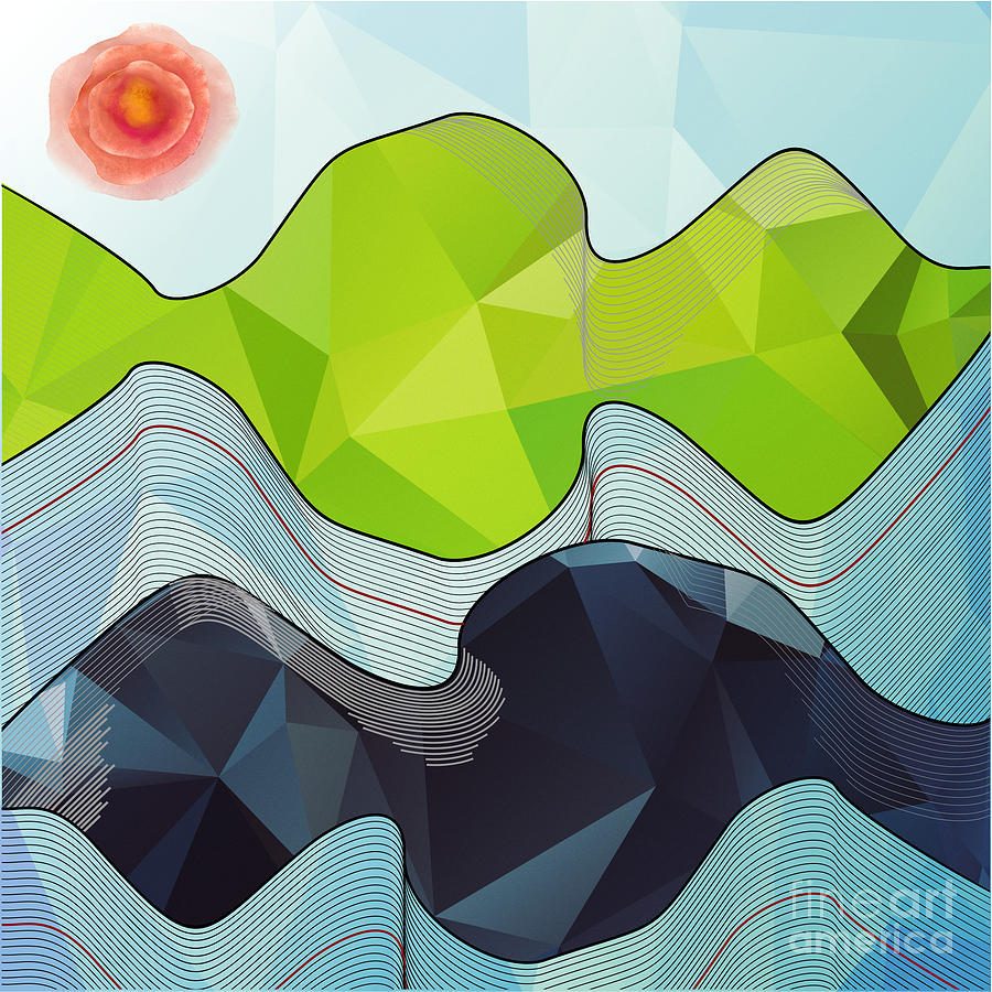 Outdoors Digital Art - The Poly Landscape by Rouages Design