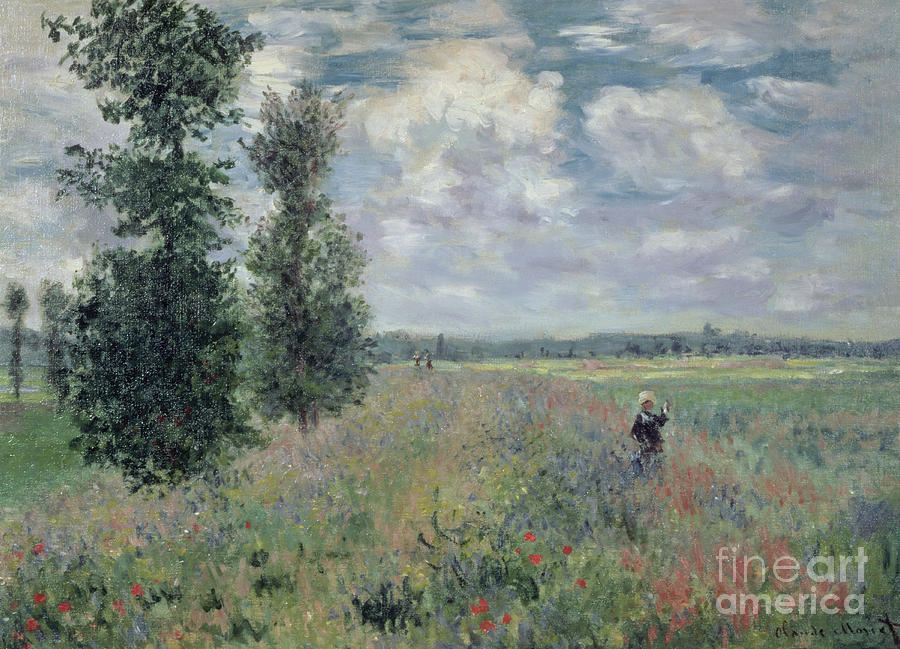 The Painting - The Poppy Field by Claude Monet