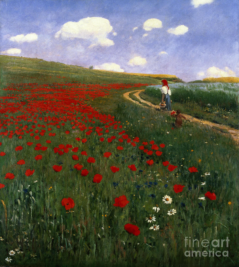 The Poppy Field By Pal Szinyei Merse (1845-1920) Painting - The Poppy Field by Pal Szinyei Merse