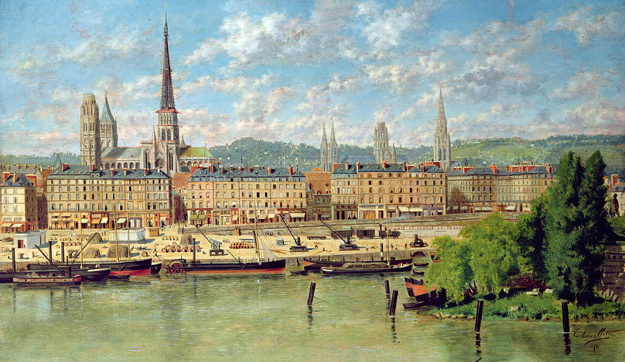 Port Painting - The Port At Rouen by Torello Ancillotti