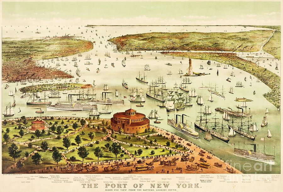 Pd Painting - The Port Of New York Harbor by Pg Reproductions