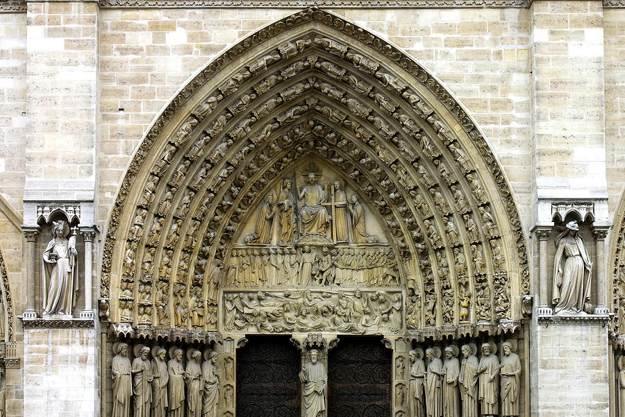 Angels Photograph - The Portal Of The Last Judgement Of Notre Dame De Paris by Fabrizio Troiani