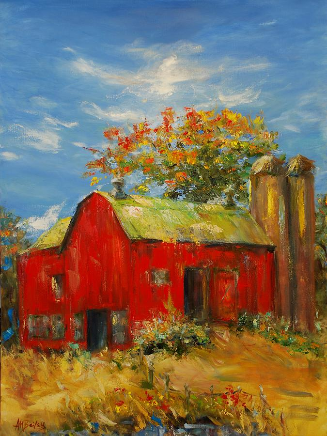Barn Painting - The Porter Barn In Red  by Ann Bailey