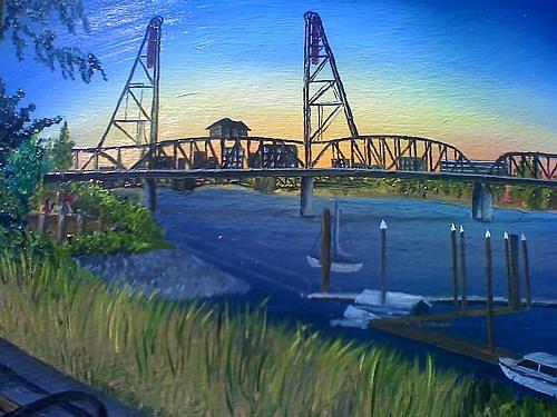 The Portland Hawthorne Bridge At Sunset Painting by Portland Art Creations
