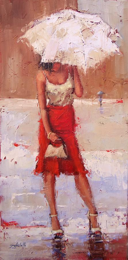 Beautiful Woman Painting - The Pose by Laura Lee Zanghetti