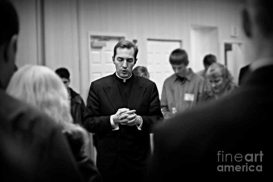 Black And White Photograph - The Power of Prayer  by Frank J Casella
