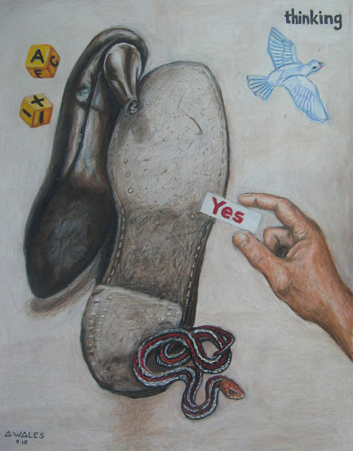 Surrealism Drawing - The Power Of Yes by Andrew Wales