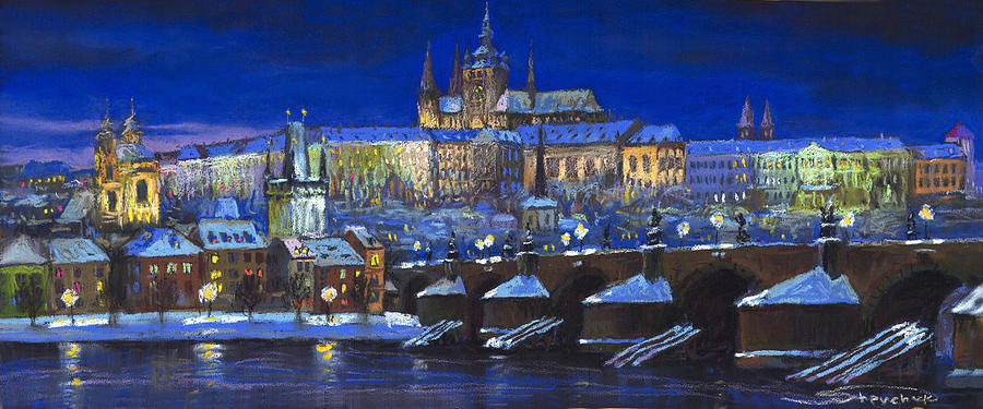 Prague Painting - The Prague Panorama by Yuriy Shevchuk