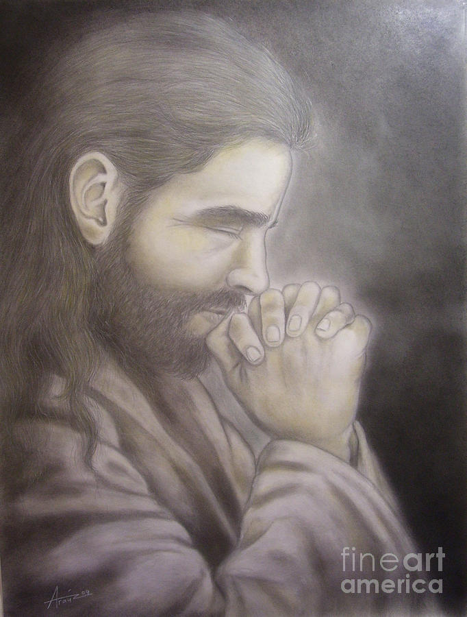 Portrait Drawing - The Prayer by Oscar Arauz