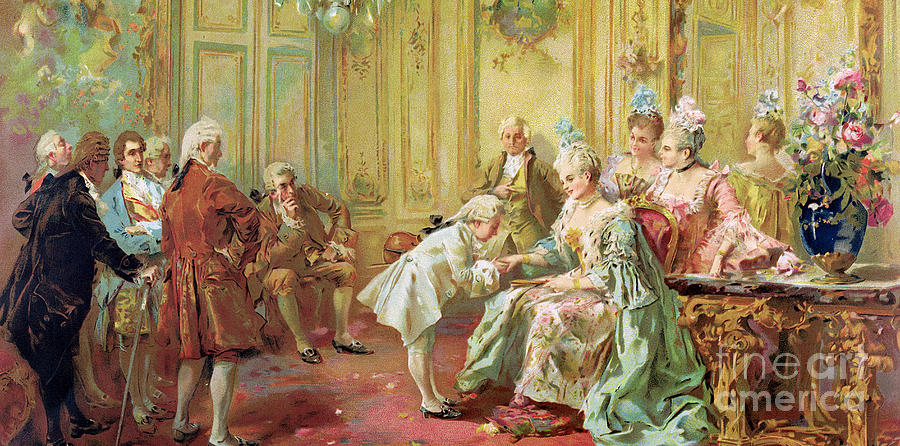 Music Painting - The Presentation Of The Young Mozart To Mme De Pompadour At Versailles by Vicente de Parades