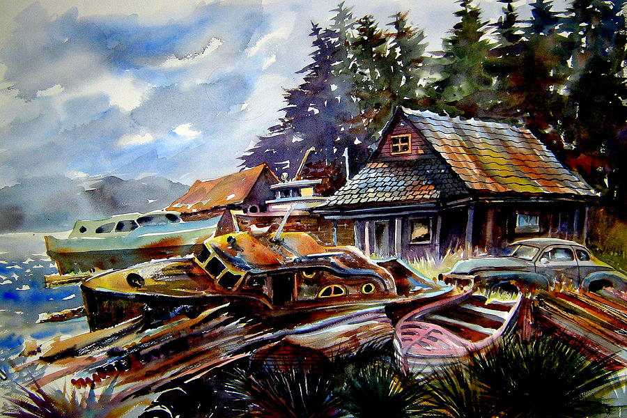 Boats Painting - The Preserve of Captain Flood by Ron  Morrison