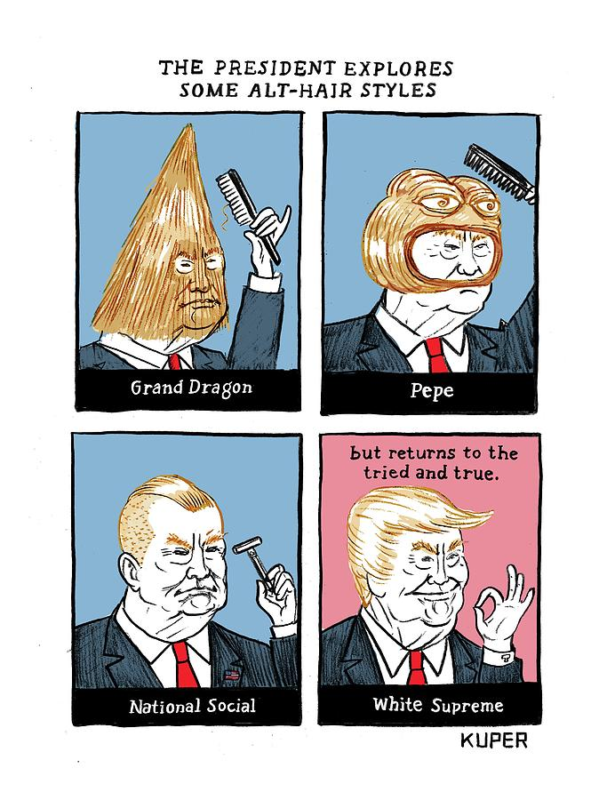 The President Explores Some Alt-Hair Styles Drawing by Peter Kuper