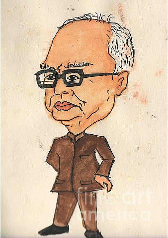 Political Cartoon Painting - The President Of India - Pranav Mukherjee by Tanmay Singh
