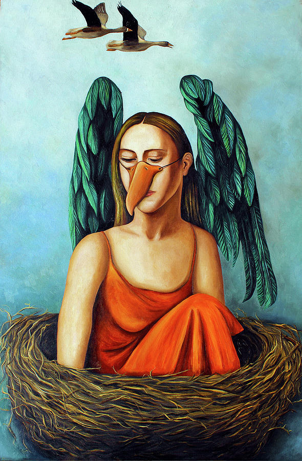 Bird.geese.mask Painting - The Pretender by Leah Saulnier The Painting Maniac
