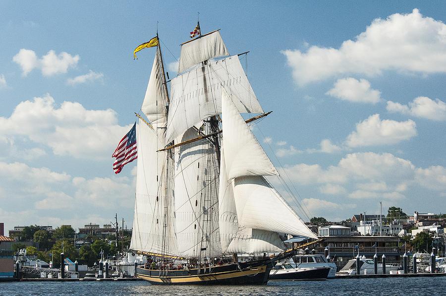 2014 Photograph - The Pride of Baltimore II in Baltimore Harbor by Lauren Brice