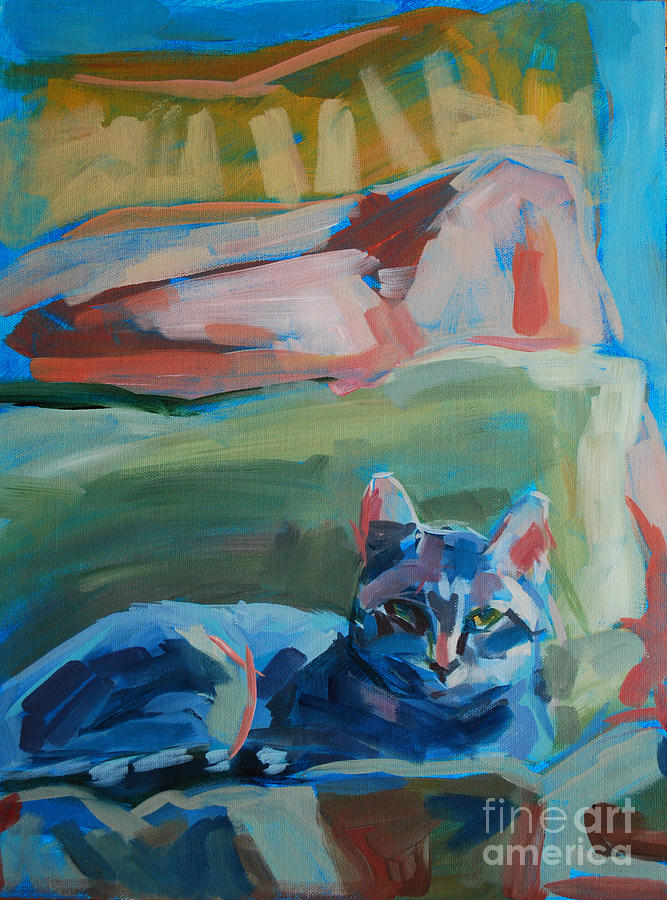 Gray Tabby Painting - The Princess And The Pea - Sketch by Kimberly Santini