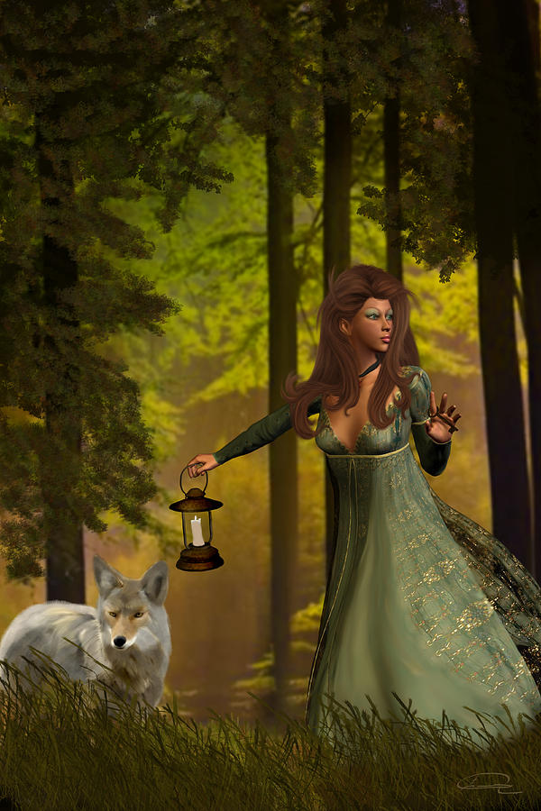 Princess Painting - The Princess And The Wolf by Emma Alvarez
