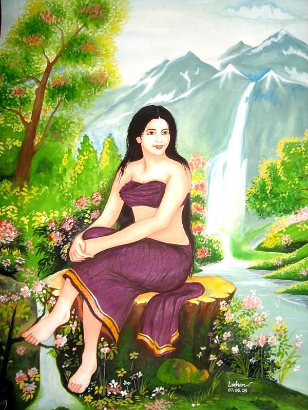 Woman Painting - The Princess Of Solitude by Lochan Venna
