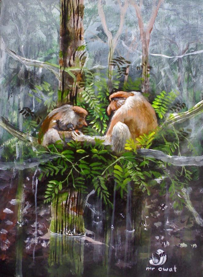 The Probosis Monkey Family Painting by Muyang Kumundan