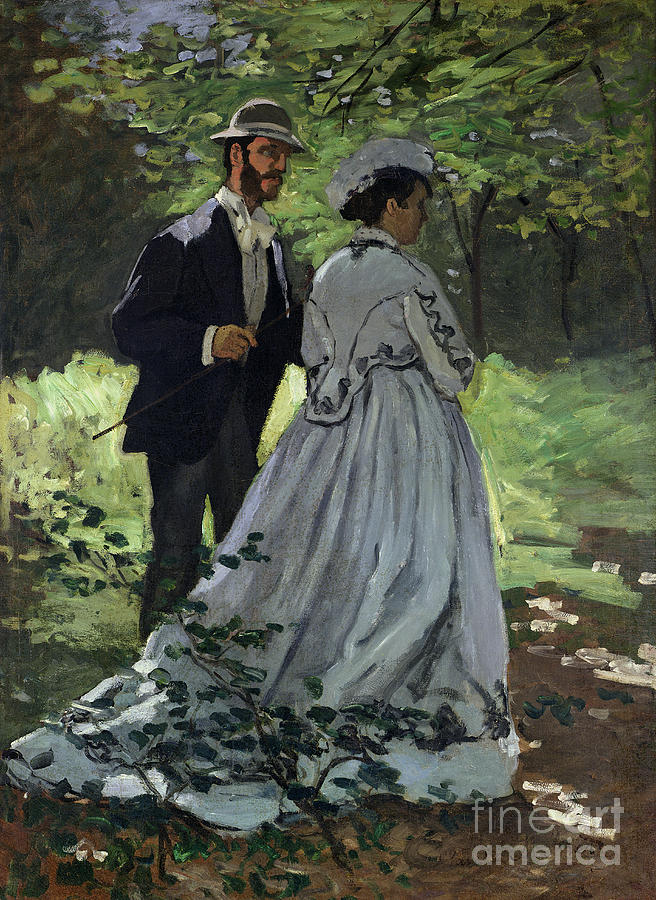 The Painting - The Promenaders by Claude Monet