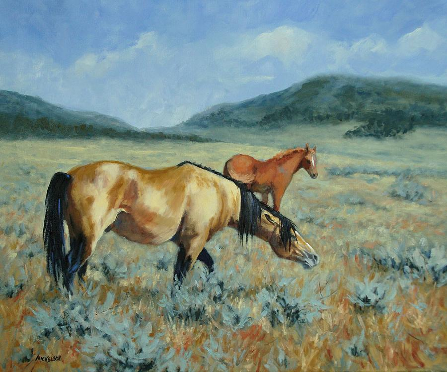 Horse Painting - The Protector  by Debra Mickelson