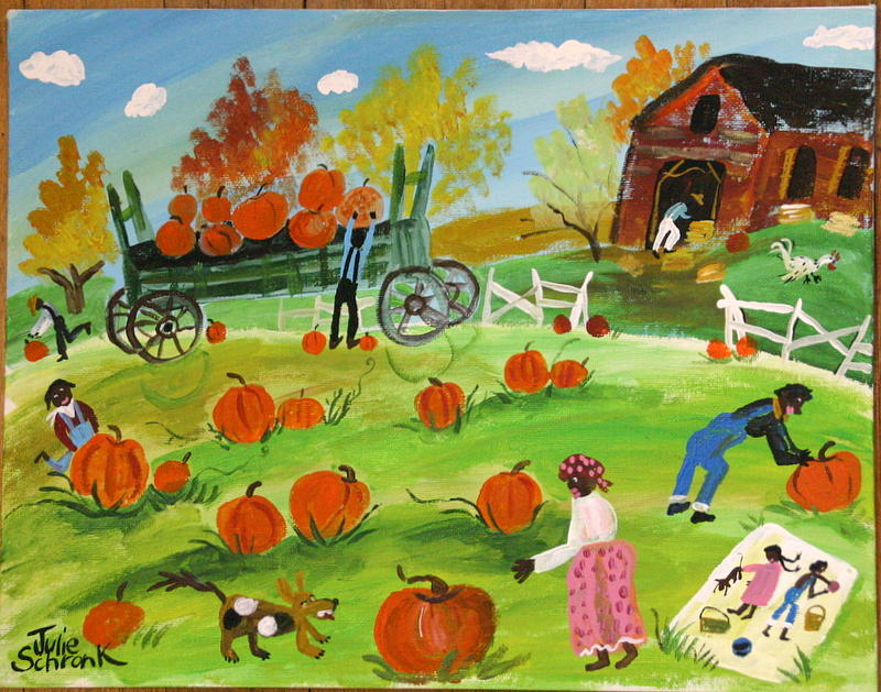 The Pumpkin Pickers Painting by Julie Schronk