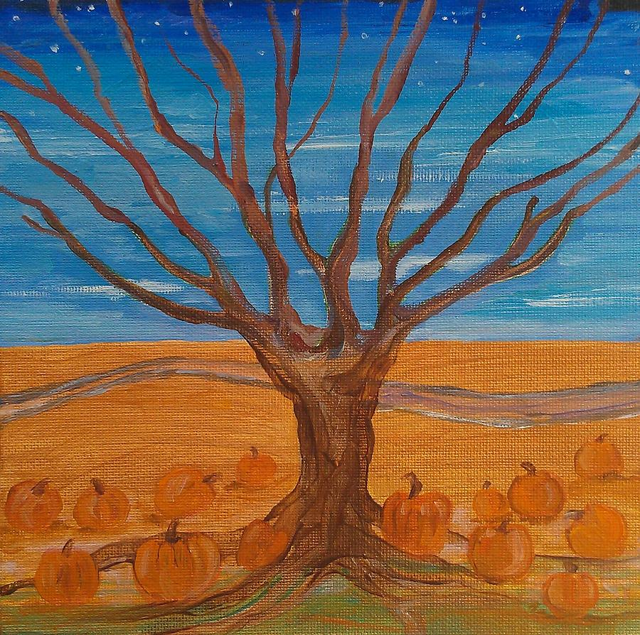 Trees Painting - The Pumpkin Tree by Dawn Vagts