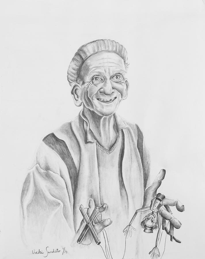 Portrait Drawing - The Puppeteer by Victoria  Shea
