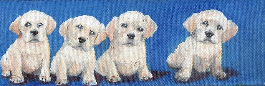 Yellow Painting - The Pups 1 by Roger Wedegis