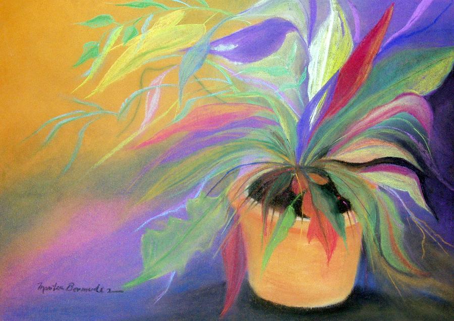 Flowers Painting - The Purple Bird by Maritza Bermudez