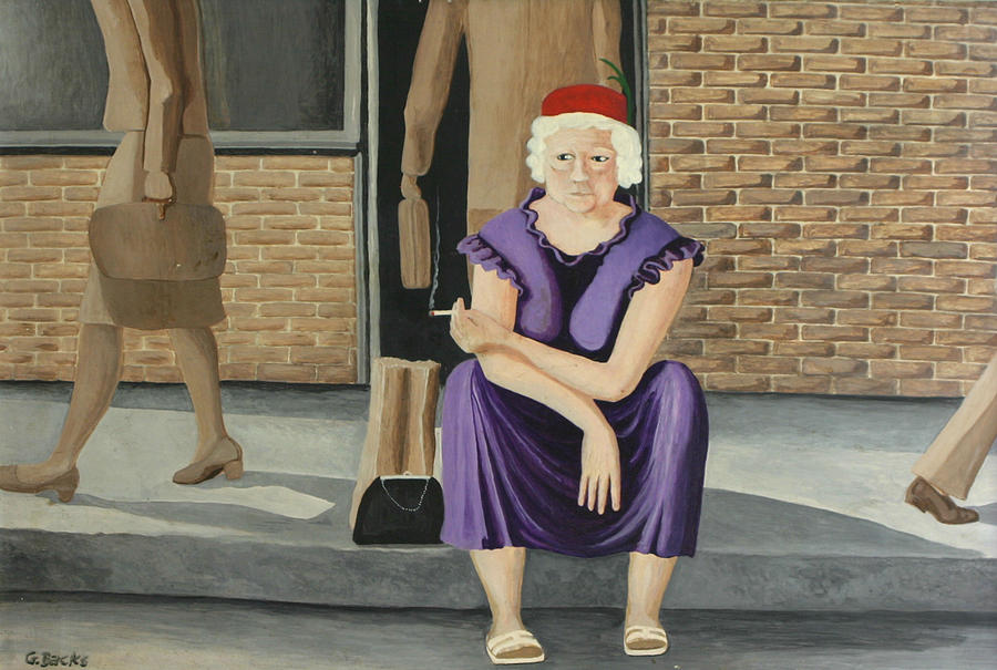 Figurative Painting - The Purple Dress by Georgette Backs