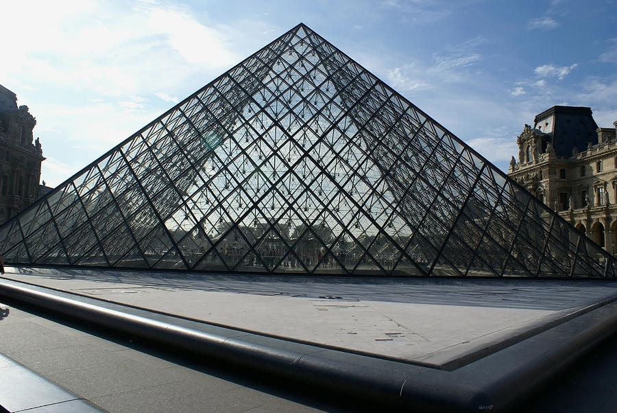 Paris Photograph - The Pyramid Paris Louvre  Museum by Leonard Rosenfield