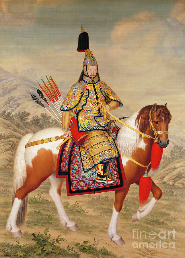 Chinese Painting - The Qianlong Emperor by Giuseppe Castiglione