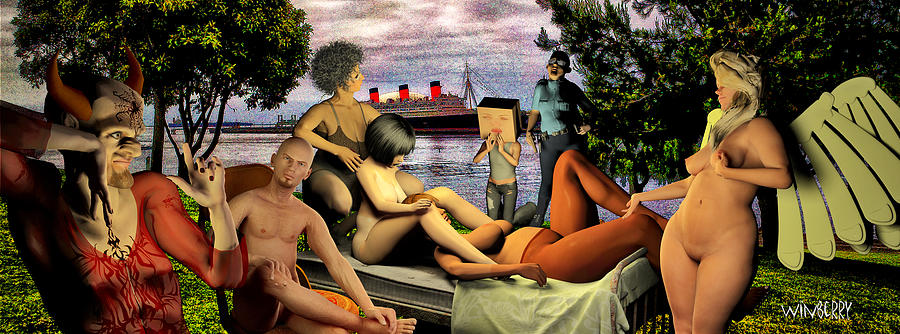 Long Beach Digital Art - The Queen Mary Is Haunted by Bob Winberry