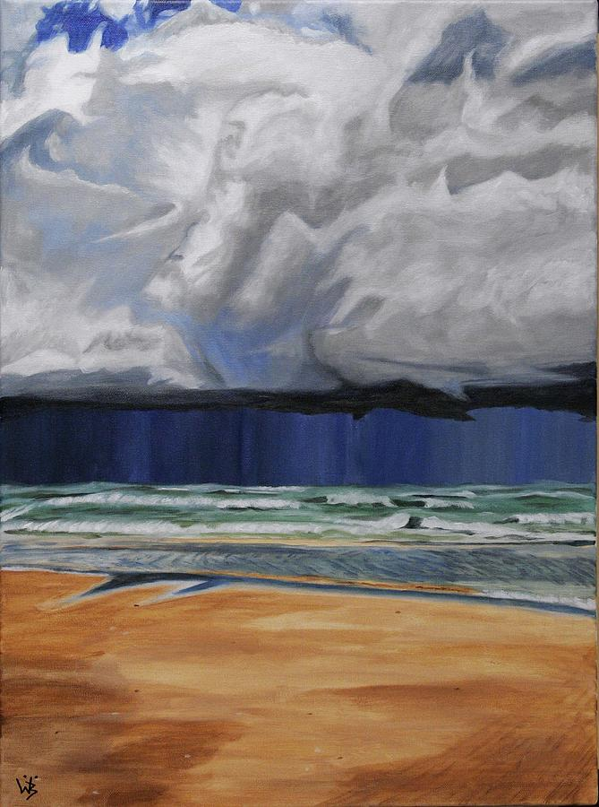 Beach Painting - The Quickest Way Is From A To B But You Never Sea by Wiebe Boersma