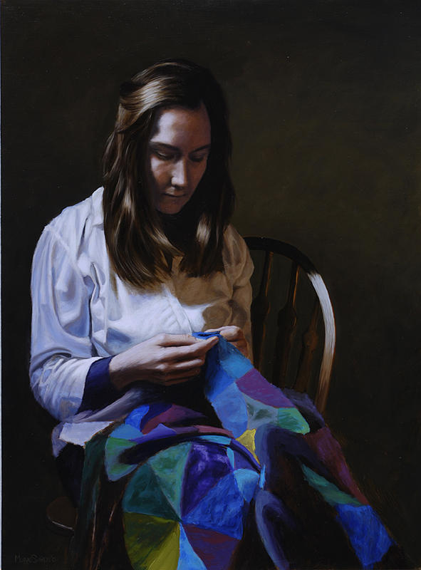 Portrait Painting - The Quilter by Murad Sayen