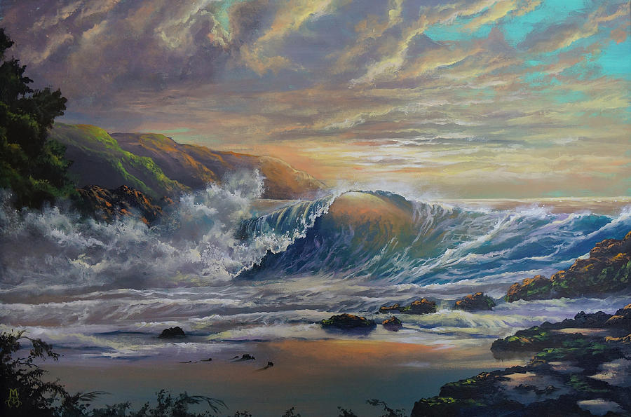 Seascape Painting - The Radiant Sea by Marco Antonio Aguilar