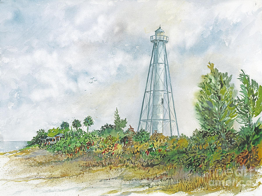 Watercolor Painting - The Range Lighthouse by Richard Jansen