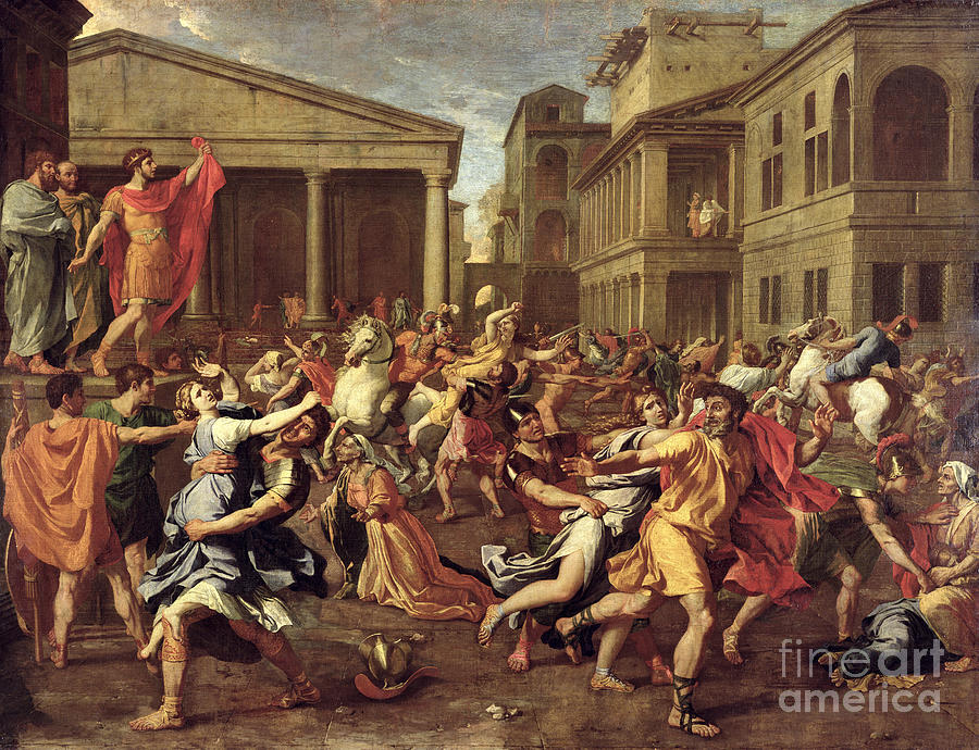 The Painting - The Rape Of The Sabines by Nicolas Poussin