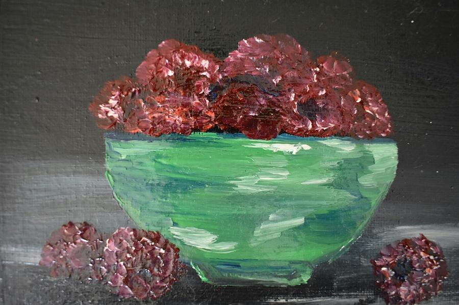 Bowl Painting - The Raspberries  by Susan Snow Voidets
