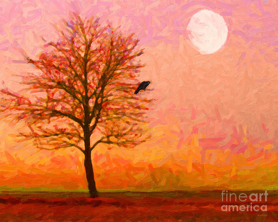 Landscape Photograph - The Raven And The Moon by Wingsdomain Art and Photography