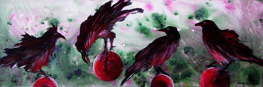 Raven Painting - The Raven Still Beguiling by Sandy Applegate