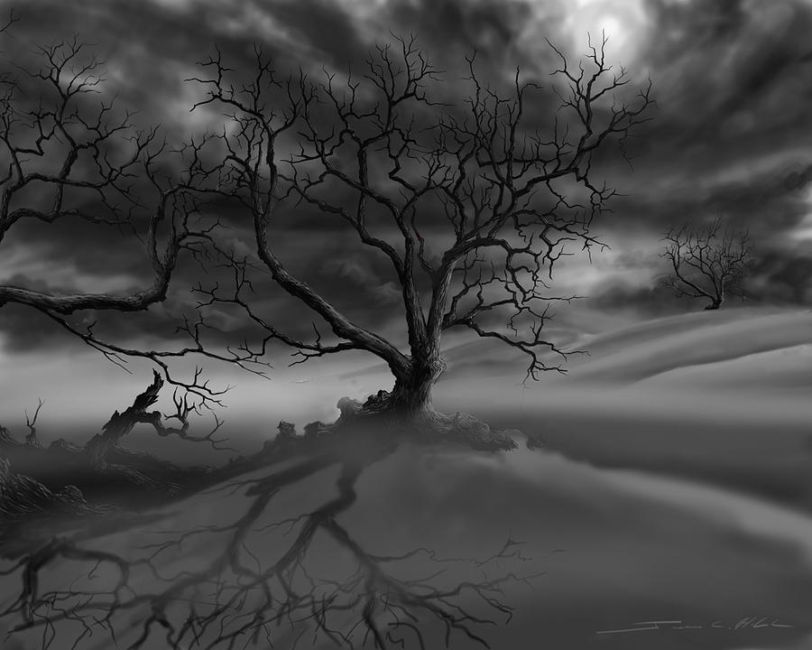 Dark Tree Painting - The Ravens Night by James Christopher Hill