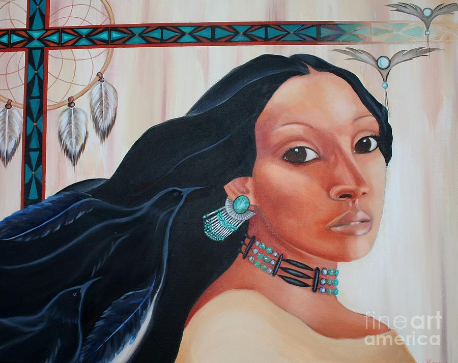 Native American Painting - The Ravens Whispered by Kandra Orr