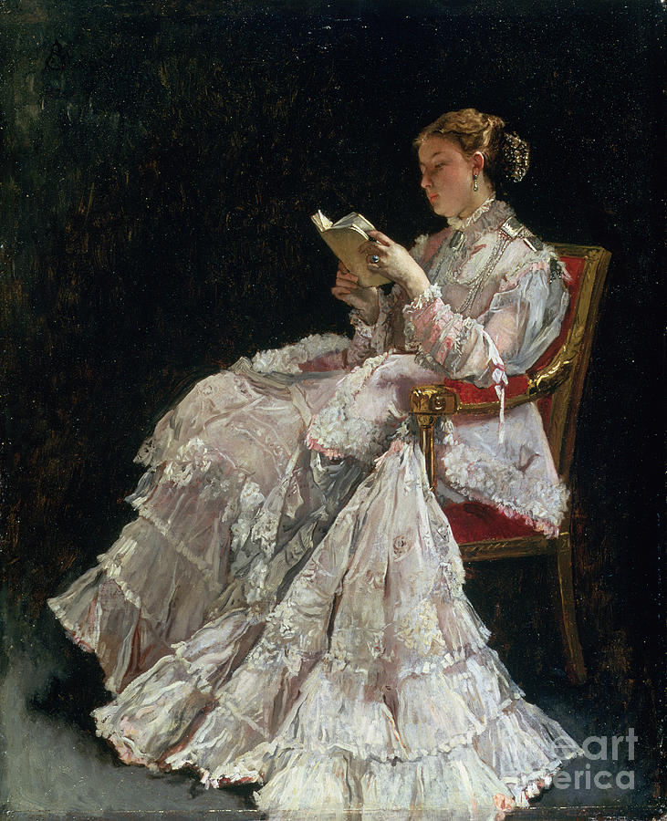 Woman Reading Painting - The Reader by Alfred Emile Stevens