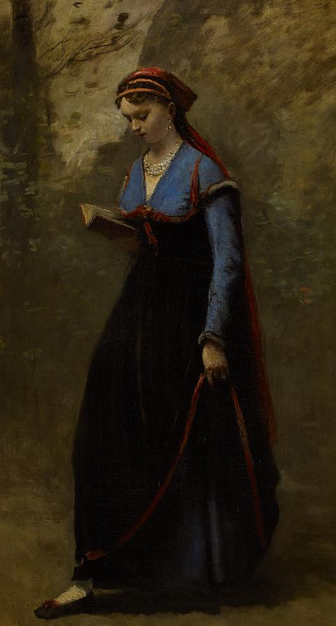Corot Painting - The Reader by Jean Baptiste Camille Corot