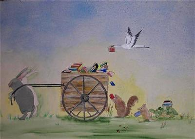 Animals Painting - The Readers by Dora Gourley